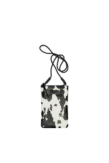 Crossbody mobile phone bag with cow print