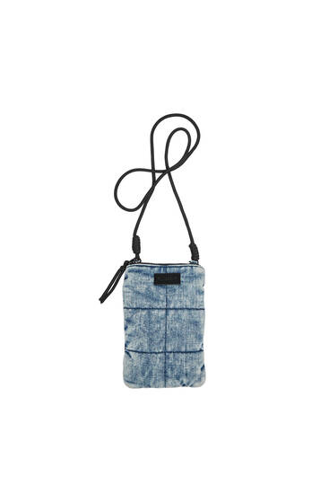 Джинсовая сумка-чехол с плечевым ремнем для мобильного телефона