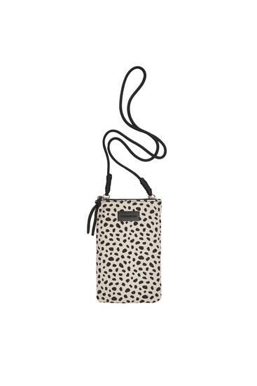 Animal print crossbody mobile phone bag