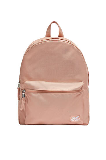 Fabric backpack with pocket detail