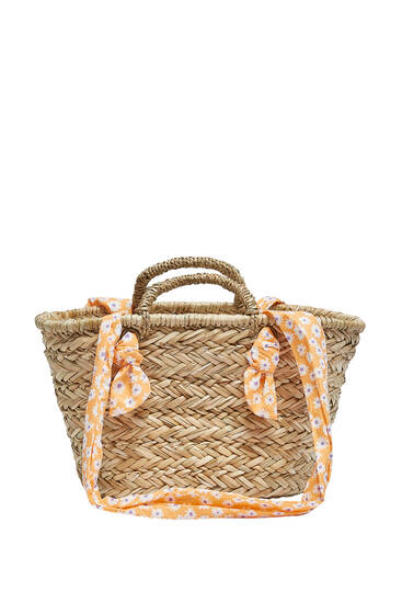Tote bag with printed scarf straps