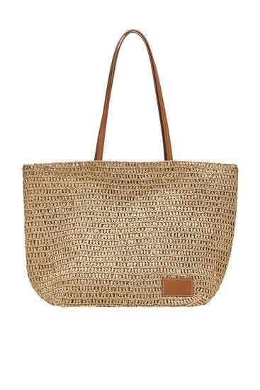 Τσάντα shopper με πλεγμένο χαρτί με δυνατότητα εξατομίκευσης