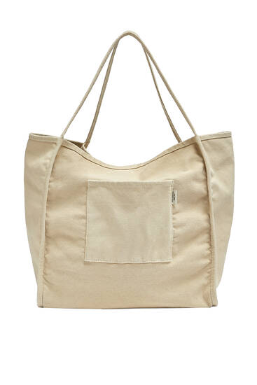 Fabric tote bag with pocket detail