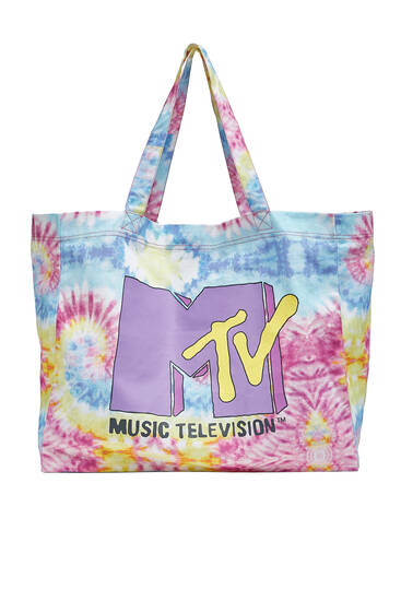 Tie-dye MTV tote bag