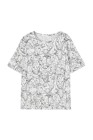 All-over cow print T-shirt