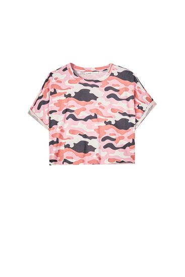 Cropped T-shirt with piped seams