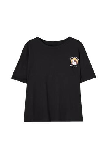 Μαύρη μπλούζα με τύπωμα αγελάδα