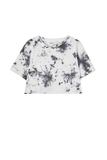 Cropped tie-dye T-shirt