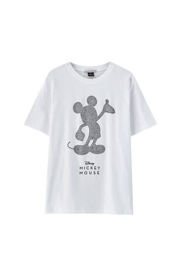 Белая футболка «Микки Маус» со стразами