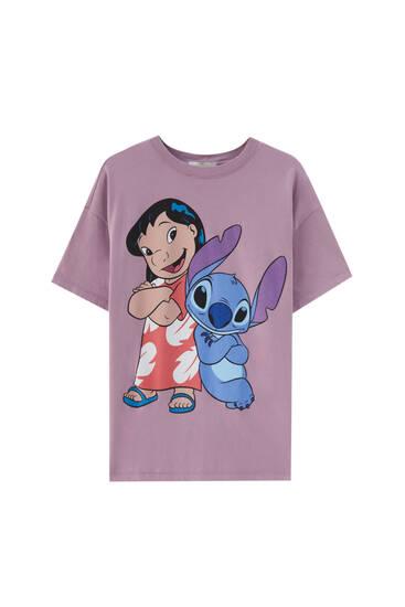 Lilo & Stitch mauve T-shirt - 100% ecologically grown cotton