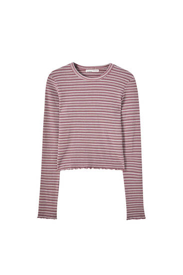 Striped check texture T-shirt
