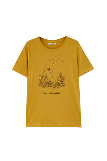 Yellow T-shirt with moon illustration