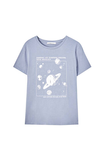 T-shirt with contrasting planets illustration
