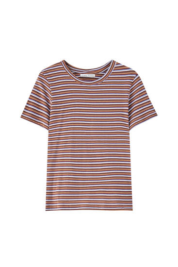 Striped round neck T-shirt