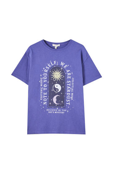 Purple T-shirt with esoteric graphic