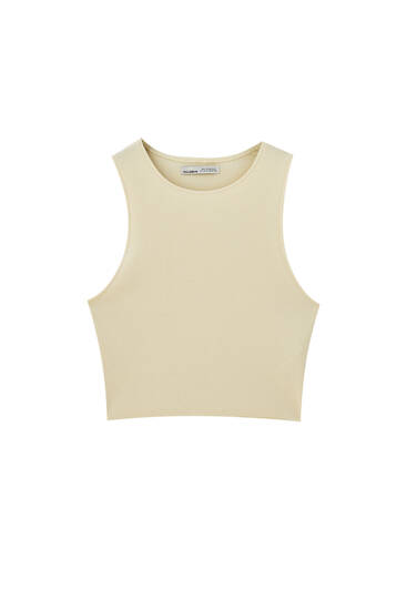 Ribbed crop top - ecologically grown cotton (at least 95%)