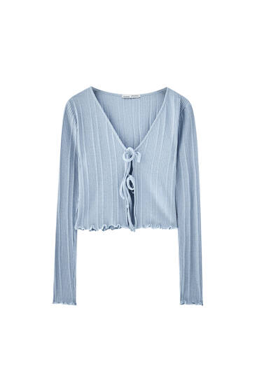 Blue ribbed T-shirt with tie detail