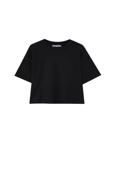 Basic cropped T-shirt with piped seams