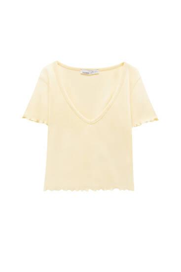 Camiseta básica cropped canalé