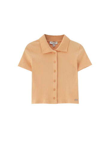 Short sleeve polo shirt with buttons
