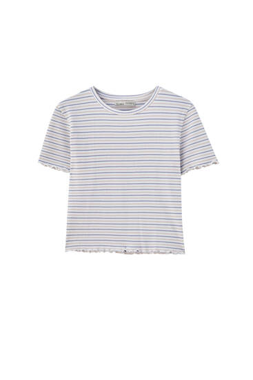 Check texture striped T-shirt