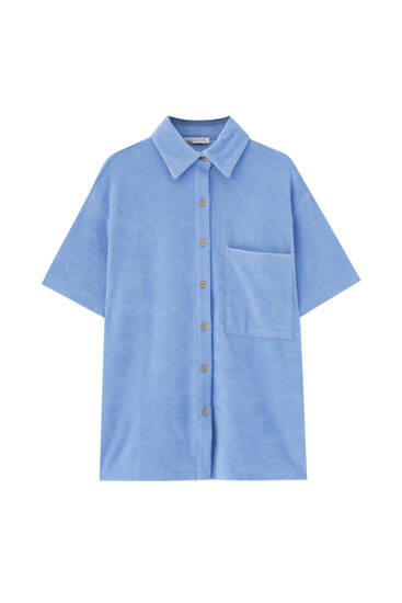 Towelling shirt with front pocket