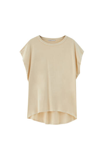 Basic T-shirt with asymmetric hem - 100% ecologically grown cotton