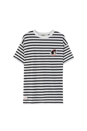 Striped Mafalda T-shirt with embroidery