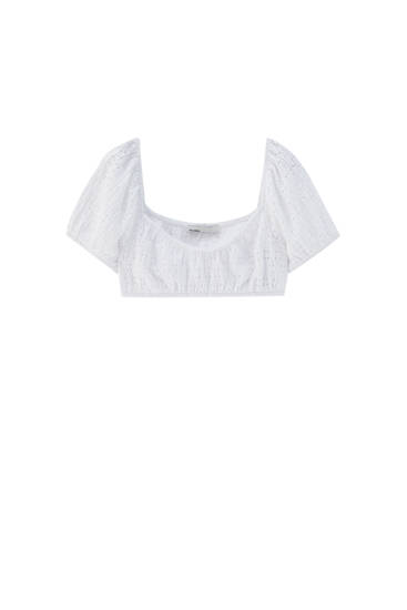 Crop top with puff sleeves - Contains recycled polyester