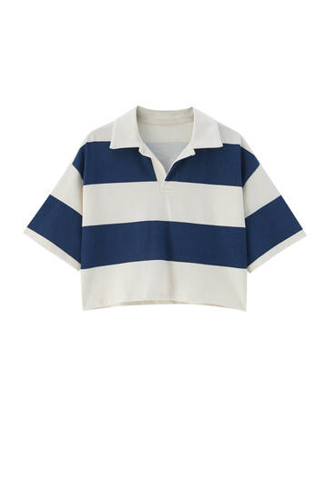 Cropped polo met brede strepen
