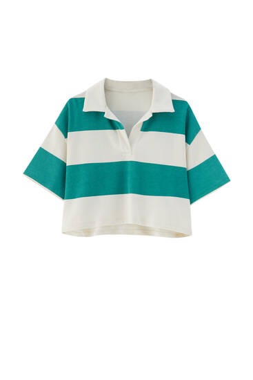 Cropped polo shirt with wide stripes