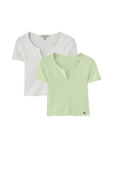 Pack of T-shirts with neckline opening - ecologically grown cotton (at least 50%)