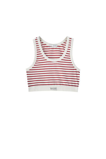 Striped top with elastic hem