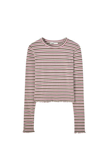 Long sleeve striped check texture T-shirt