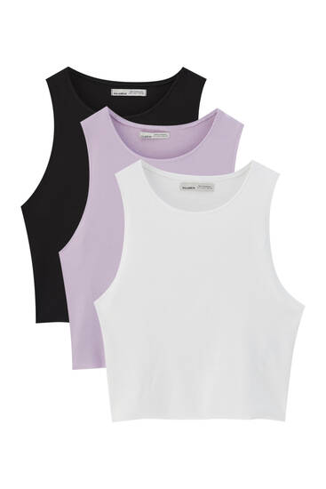 Pack of 3 sleeveless ribbed tops