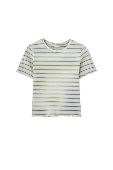Basic short sleeve T-shirt in check texture