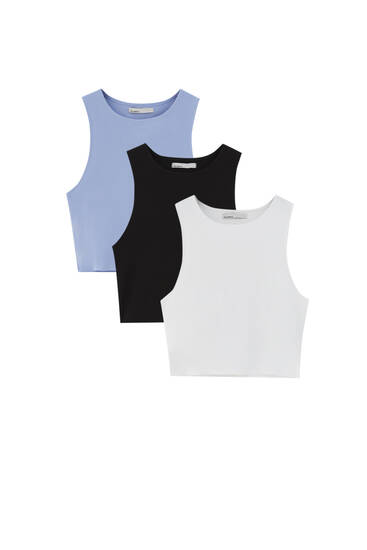Pack of sleeveless vest tops - At least 95% ecologically grown cotton