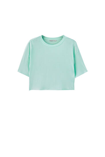 Cropped T-shirt with piped seams - 100% ecologically grown cotton