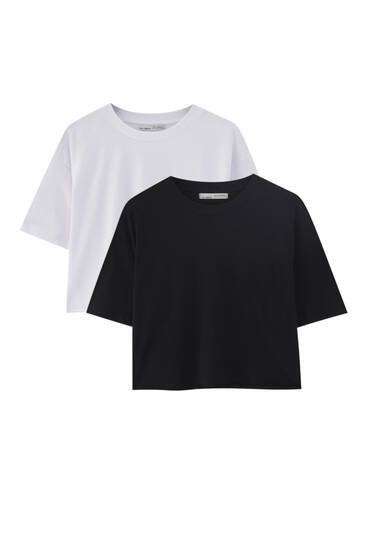 Pack of cropped T-shirts with piped seams - 100% ecologically grown cotton