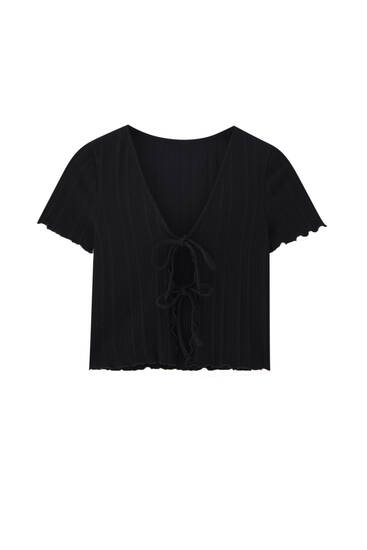 Ribbed T-shirt with tie detail