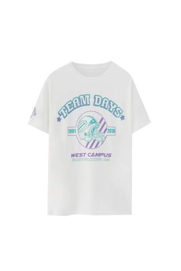 White T-shirt with varsity graphic