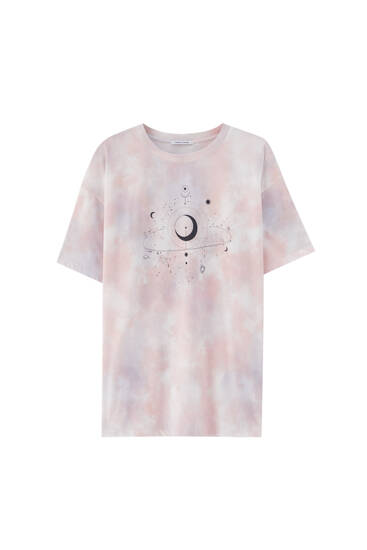 Tie-dye T-shirt with satellite illustration