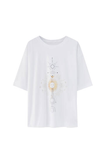 White T-shirt with sun illustration