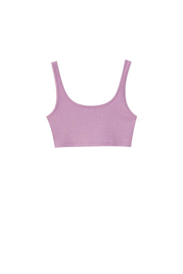 Ribbed top with thin straps - recycled polyamide (at least 50%)