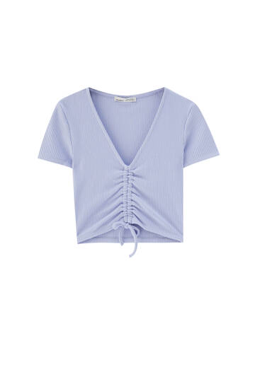 Ribbed top with gathered front
