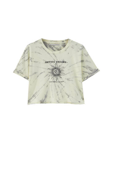 Cropped tie-dye T-shirt with sun detail