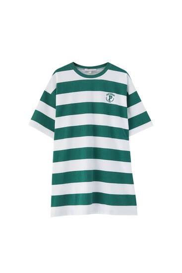 Groene gestreepte T-shirtdress - biologisch katoen (ten minste 50%)