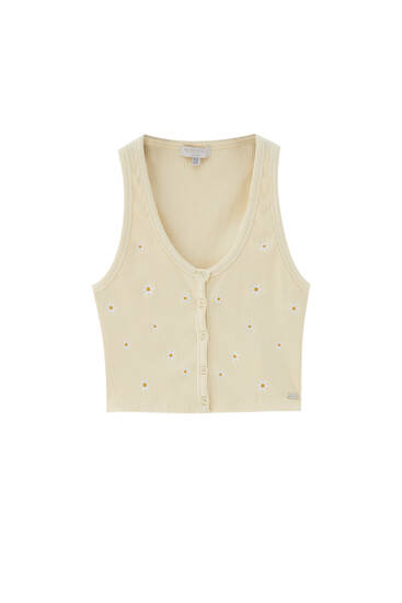 Embroidered floral top with buttons - ecologically grown cotton (at least 95%)