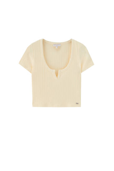 T-shirt with cut-out neckline