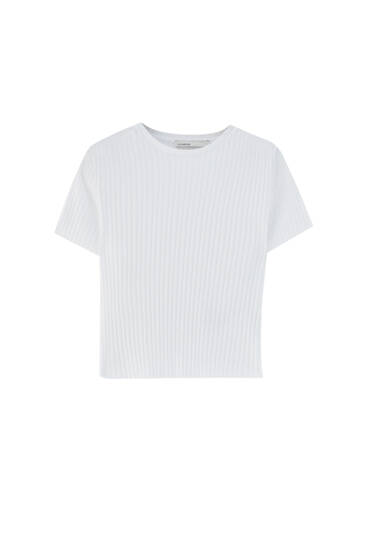 Basic wide ribbed short T-shirt